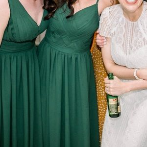 Forest green bridesmaid gown
